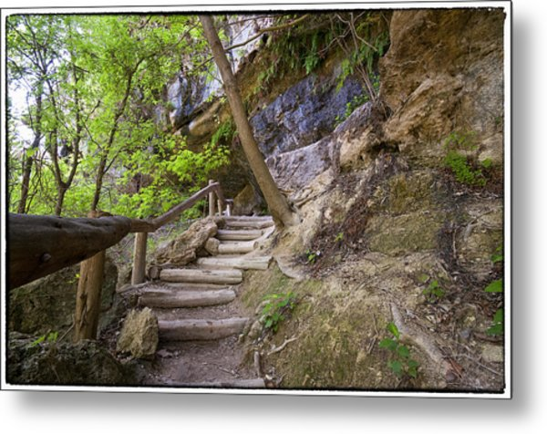 Steps To The Cave Metal Print