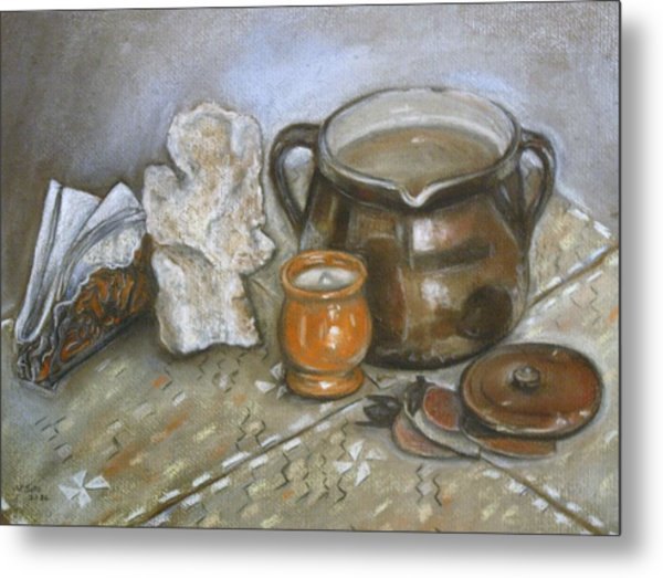 Still Life Fossil Metal Print by Victor SOTO
