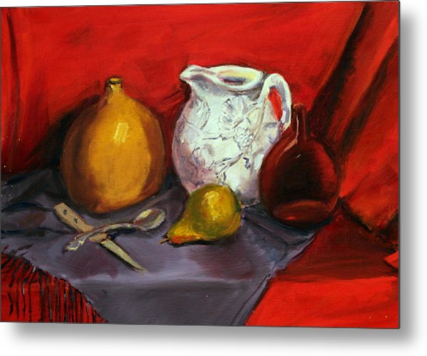 Still Life In Red Metal Print