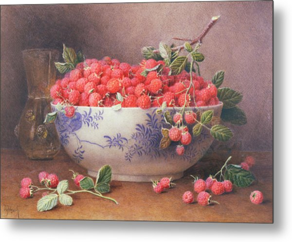 Still Life Of Raspberries In A Blue And White Bowl Metal Print