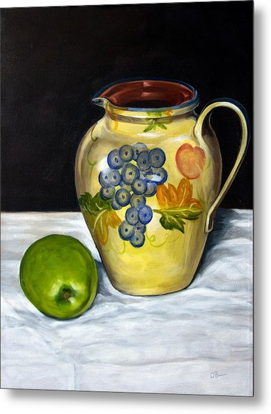 Still Life With Apple And Pitcher Metal Print by John OBrien