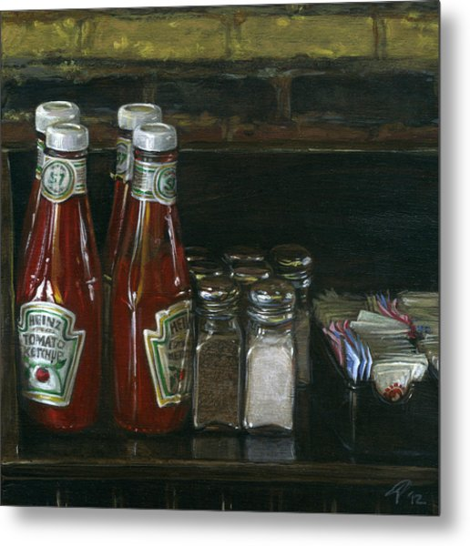 Still Life With Ketchup Metal Print by Ted Papoulas