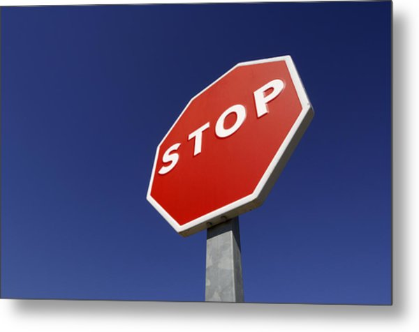 'stop' Road Sign Metal Print by Martin Ruegner