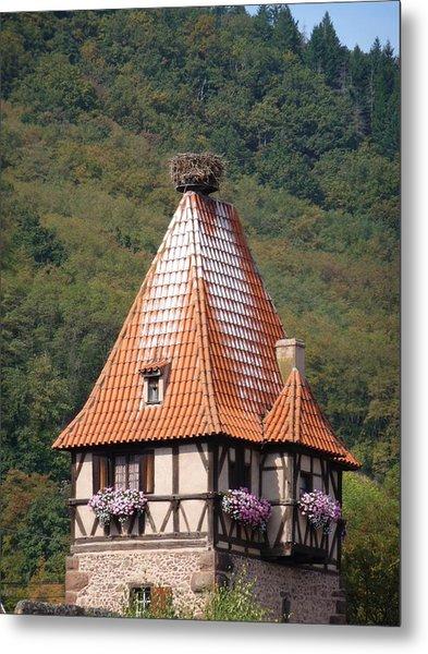 Stork Nest In Alsace France Metal Print by Christopher Mullard