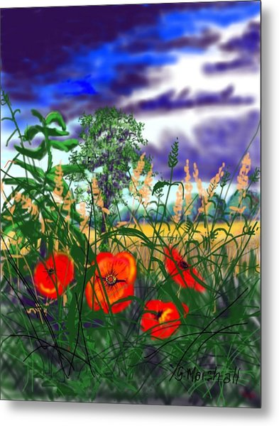 Storm Clouds And Poppies Metal Print