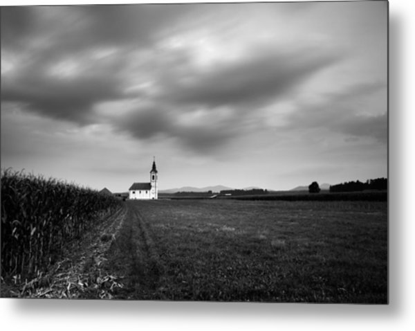 Storm Clouds Gather Over Church Metal Print