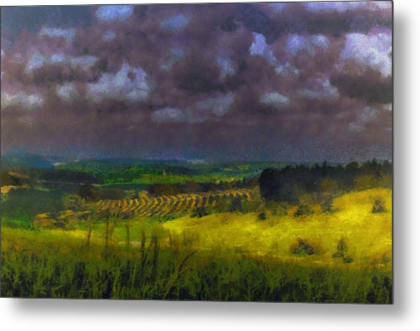 Storm Clouds Over Meadow Metal Print
