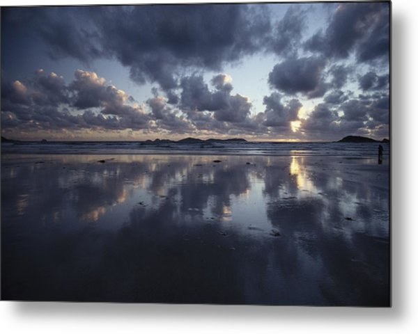 Storm Clouds Over Tidal Flat Metal Print