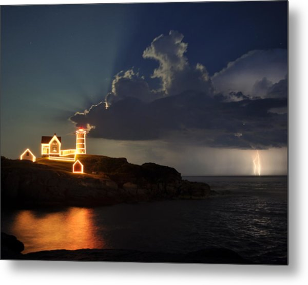 Storm Energizes The Lightning And The Lighthouse Metal Print