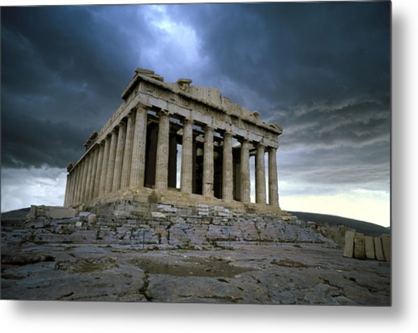 Storm Over The Parthenon Metal Print