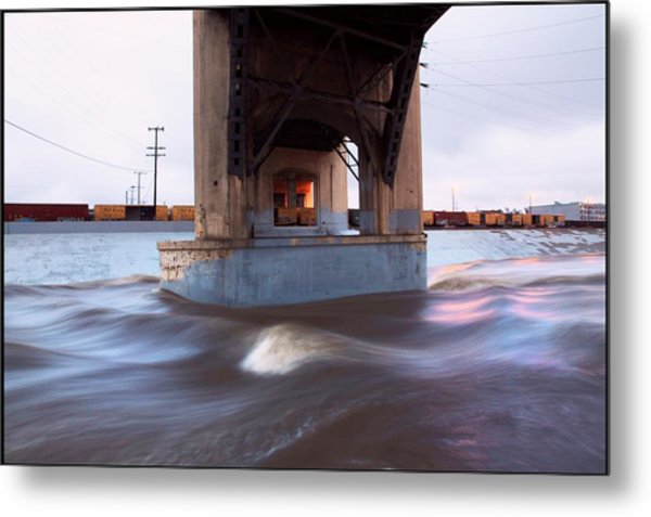 Storm Water Under The Sixth Street Bridge In La Metal Print by Kevin  Break