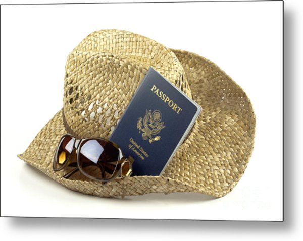 Straw Hat With Glasses And Passport Metal Print by Blink Images