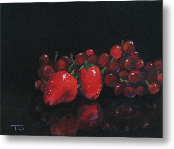 Strawberries And Grapes Metal Print