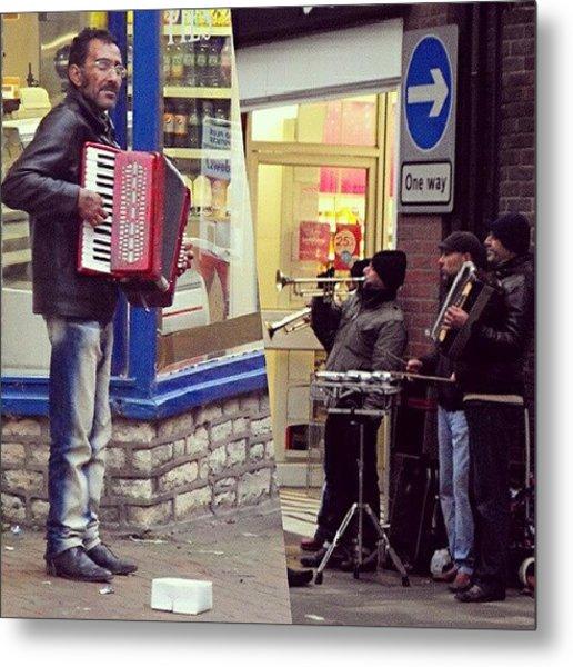 #street #musicians In #oswestry #wales Metal Print