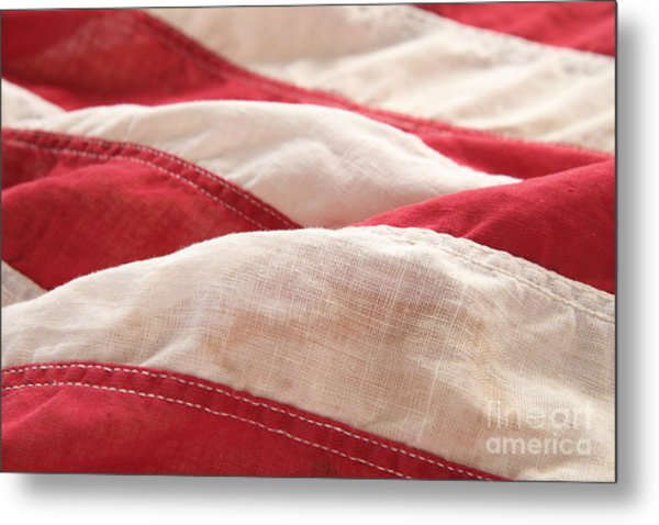 Stripes Of An Old American Flag Metal Print by Ruby Hummersmith