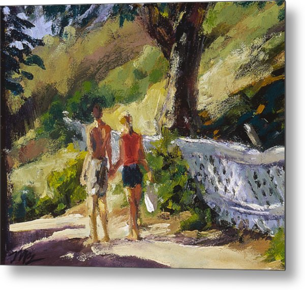 Stroll The Cove Metal Print