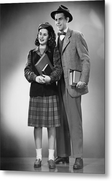 Student Couple Posing In Studio, (b&w), Portrait Metal Print by George Marks