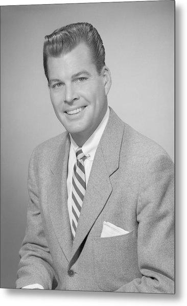 Studio Portrait Of Mid Adult Man Smiling Metal Print by George Marks