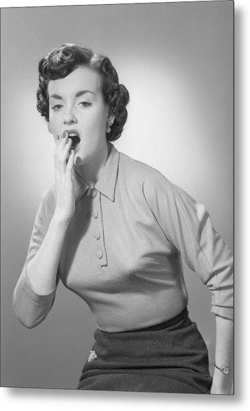 Studio Portrait Of Woman Yawning Metal Print by George Marks