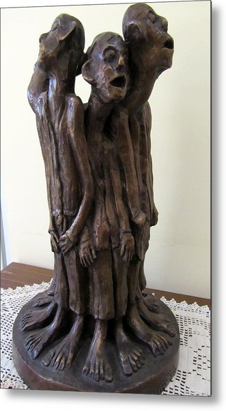 Suffering Circle In Bronze Sculpture Men In Rugs Standing In A Circle With Suffering Faces Crying  Metal Print