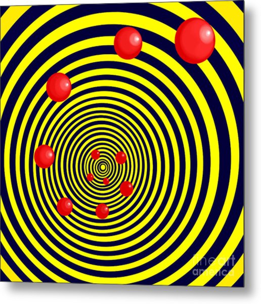Summer Red Balls With Yellow Spiral Metal Print