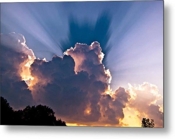 Sun Rays And Clouds Metal Print