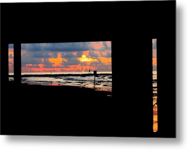 Sun Rise From Under The Pier Metal Print by Mark Longtin