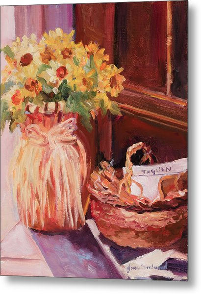 Sunflowers And The Breadbasket Metal Print by Jane Woodward