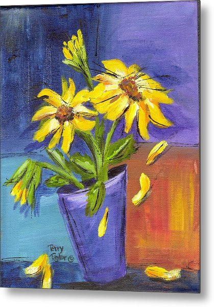 Sunflowers In A Blue Pot Metal Print