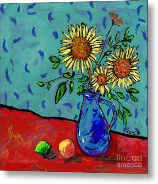 Sunflowers In A Milk Pitcher Metal Print