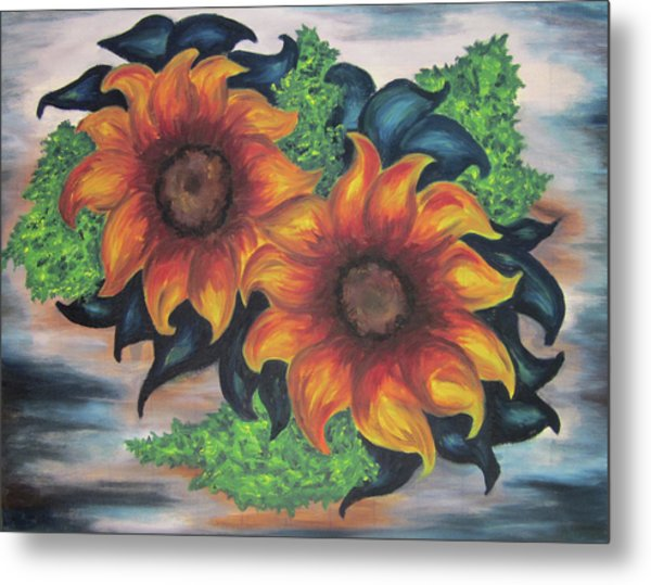 Sunflowers In A Still Life Metal Print