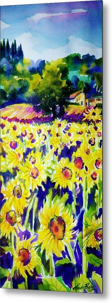 Sunflowers Of Tuscany  Sold Original Prints Available Metal Print by Therese Fowler-Bailey