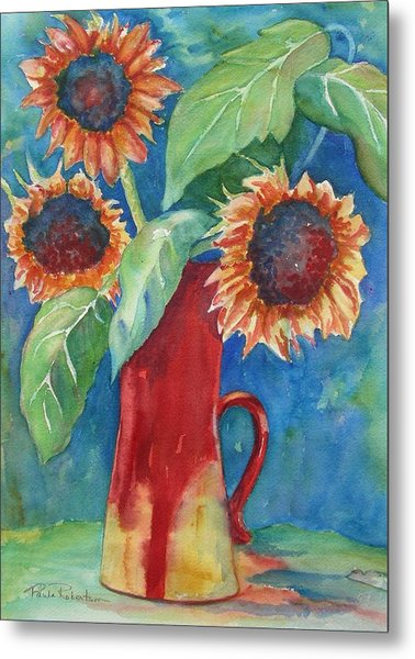 Metal Print featuring the painting Sunflowers by Paula Robertson