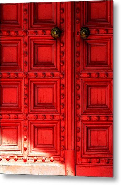 Sunlight On The Red Door Metal Print
