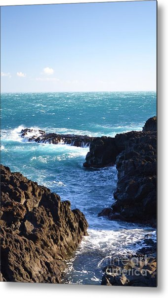 Sunny Day And Stormy Sea Metal Print