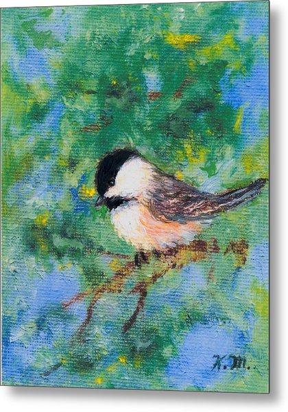 Sunny Day Chickadee - Bird 2 Metal Print