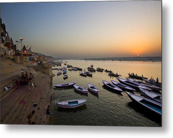 Sunrise At Ganges River Metal Print