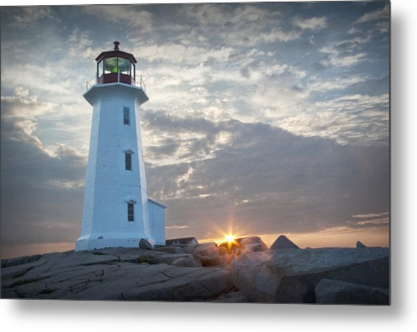 Sunrise At Peggys Cove Lighthouse In Nova Scotia Number 041 Metal Print