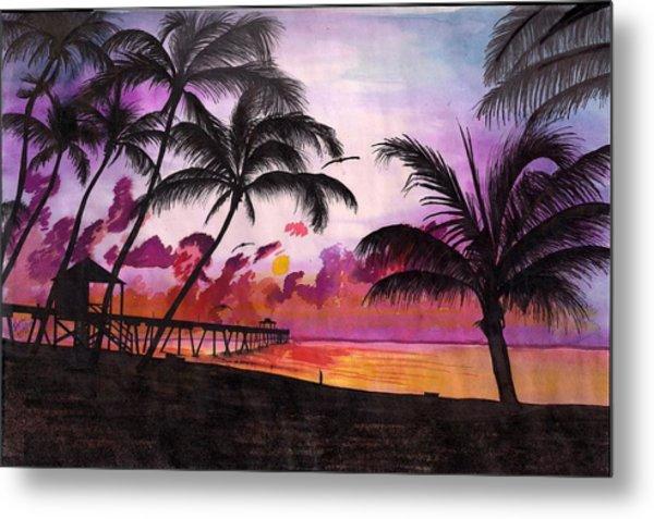 Sunrise At The Deerfield Beach Pier Metal Print