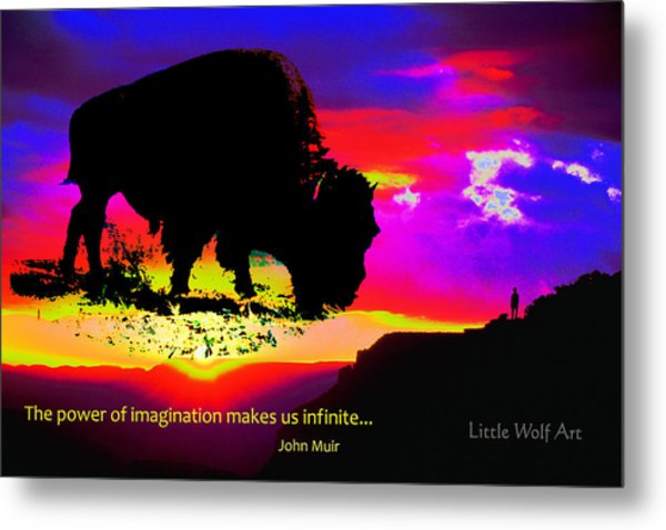 Sunrise Bison Collage Metal Print