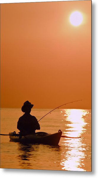 Sunrise Fishing Metal Print
