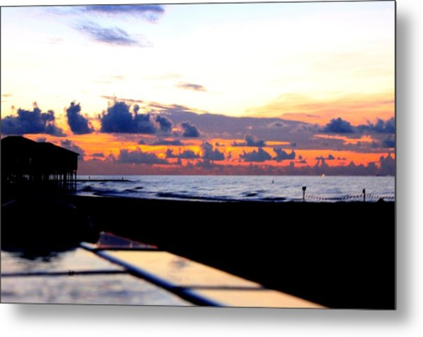 Sunrise In Galveston Metal Print by Mark Longtin