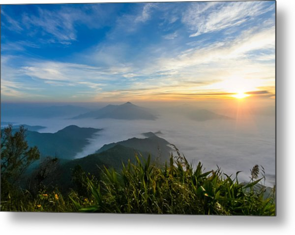 Sunrise In Mornig Time Misty Early On Mountain Metal Print by Kittipan Boonsopit