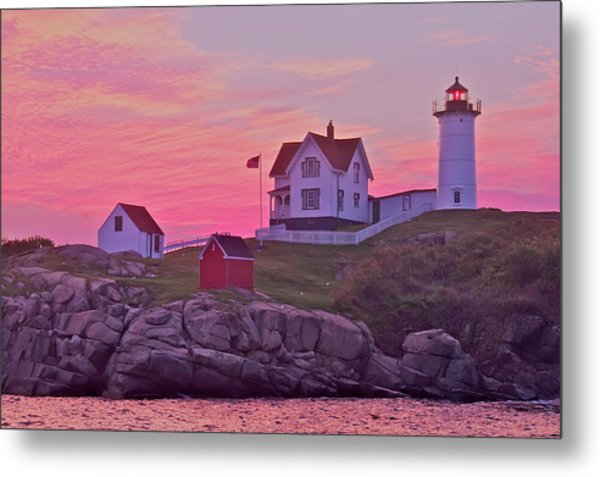 Sunrise Nubble Lighthouse Metal Print