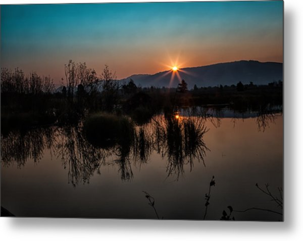 Sunrise Over The Beaver Pond Metal Print