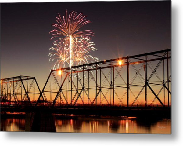 Sunset And Fireworks Metal Print