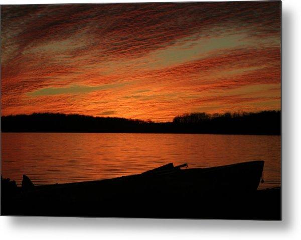 Sunset And Kayak Metal Print