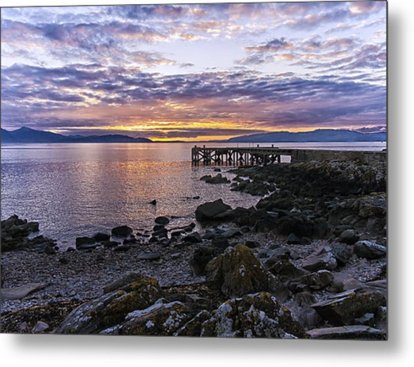Sunset At Portencross Jetty Metal Print