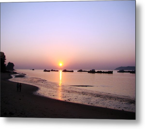 Sunset At The Beach Metal Print by Susmita Mishra