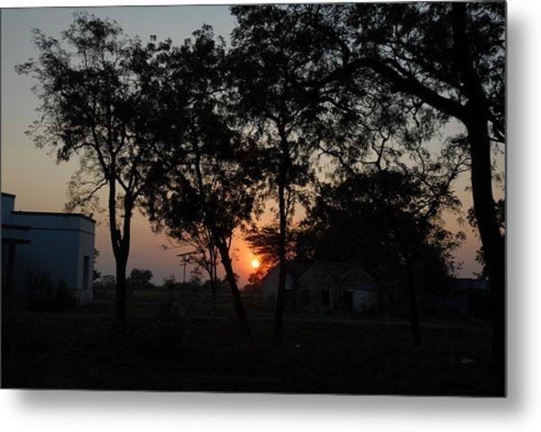 Sunset Behind Trees Metal Print by Johnson Moya